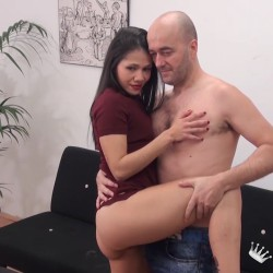 She had come looking for a job as a webcamer, but we end up finding out SHE'S A SLUT and convince her to FUCK.