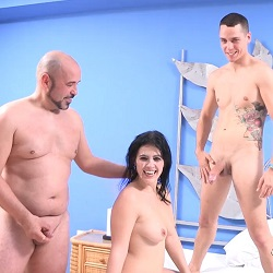 Montse enjoys like a bitch with the dick of the year. And her husband is watching it!