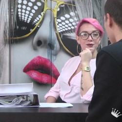 Paola, the horny boss, does an odd interview to the guy that's aspiring to the job