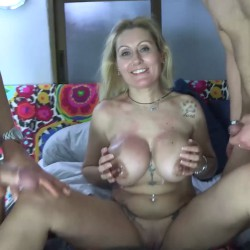 The two rookies that Nuria has just fucked cum on her ENORMOUS TITS